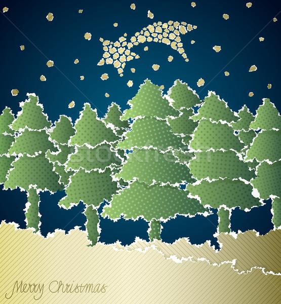 Stock fotó: Karácsony · vektor · szakadt · papír · papír · boldog · absztrakt
