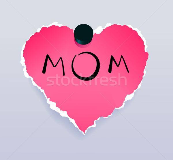 Kalp anne yırtık kağıt mesaj anneler gün Stok fotoğraf © oliopi