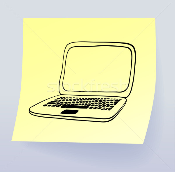 Laptop tekening sticky note vector eps8 internet Stockfoto © oliopi