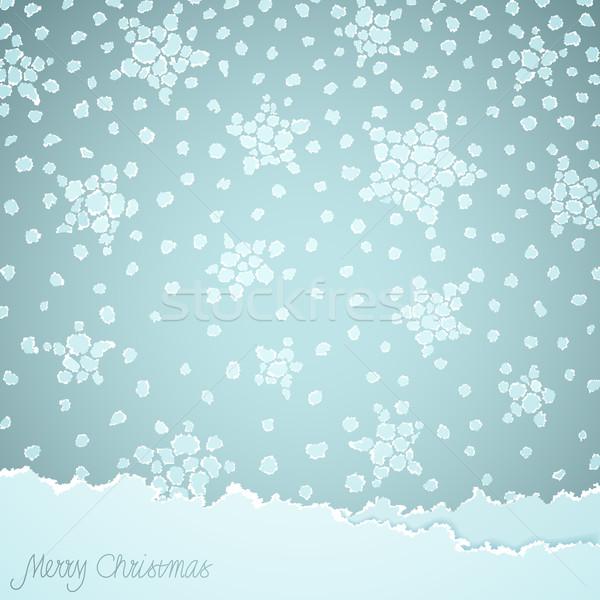 Karácsony vektor szakadt papír textúra boldog természet Stock fotó © oliopi