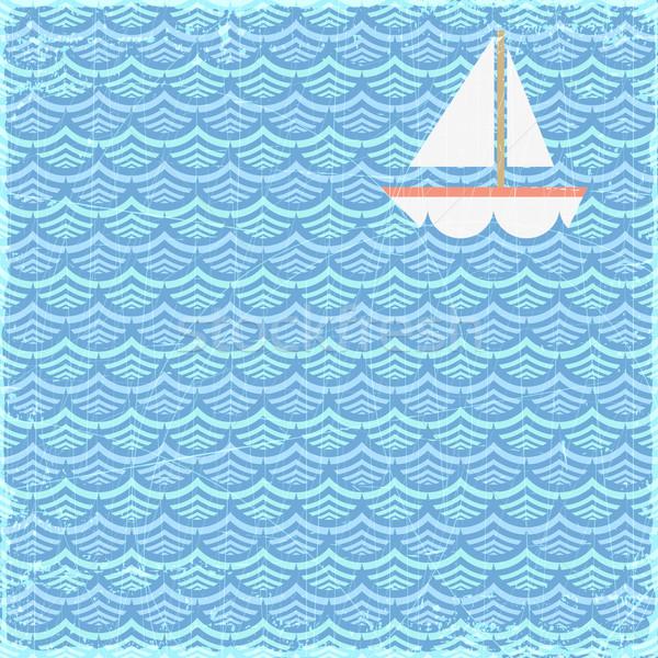 Yaz afiş grunge yelkencilik tekne vektör Stok fotoğraf © oliopi