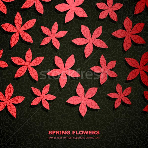 Bahar afiş kâğıt çiçekler uzay Paskalya Stok fotoğraf © oliopi