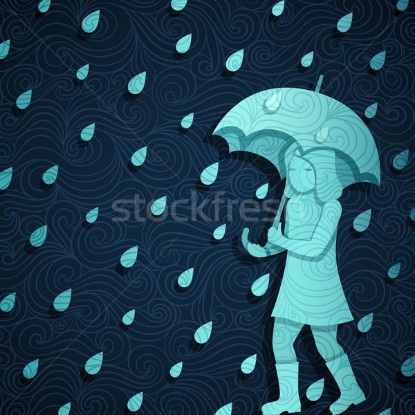 Regenachtig banner najaar papier vector eps8 Stockfoto © oliopi