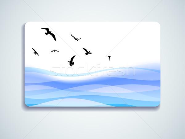 Gaviotas tarjeta de regalo vuelo mar agua Foto stock © oliopi