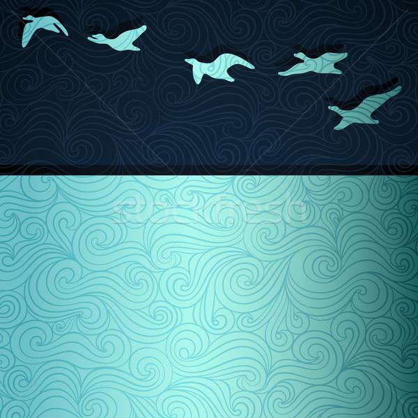 Repülés libák fölött tó vektor eps8 Stock fotó © oliopi