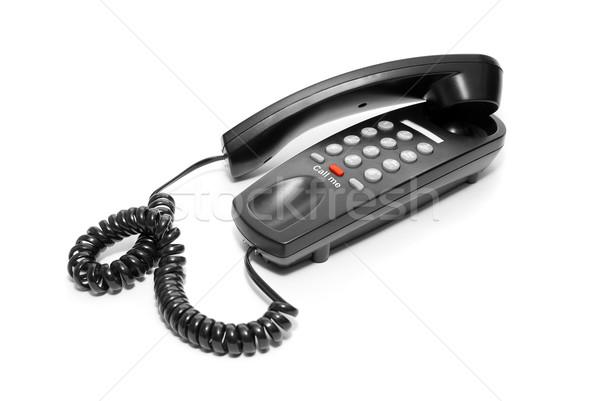 черный служба телефон изолированный белый Сток-фото © olira