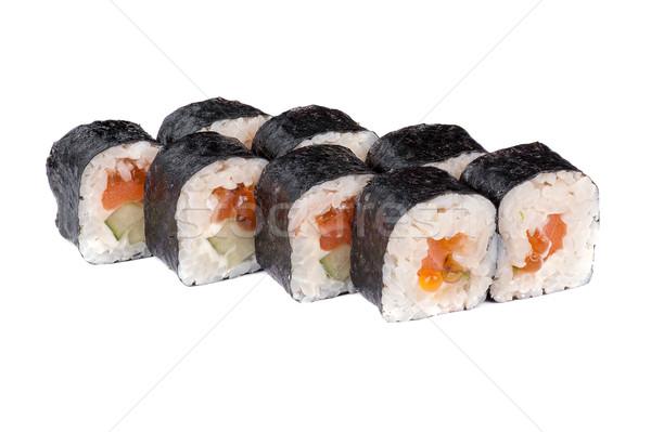 sushi fresh maki rolls with red caviar Stock photo © olira