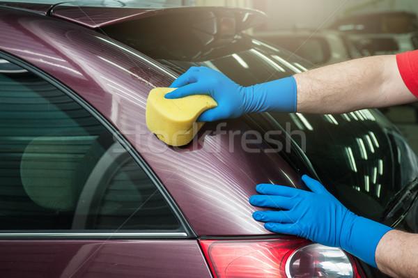 washing car with sponge Stock photo © olira