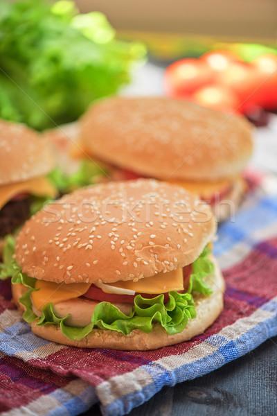 Houten tafel voedsel achtergrond groene Stockfoto © olira
