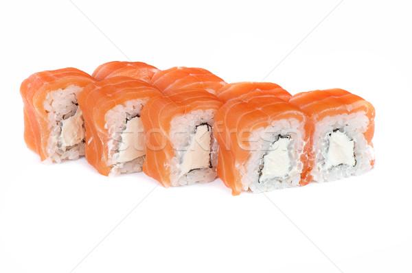 Roll with cream cheese and salmon Stock photo © olira