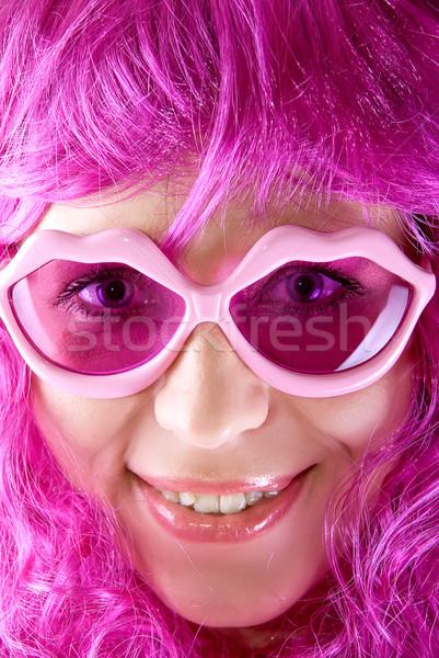 Lábios óculos foto rosa menina Foto stock © olira