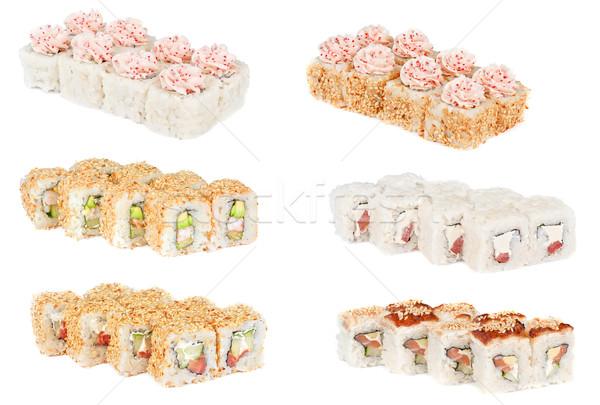 sSet sushi fresh rolls Stock photo © olira
