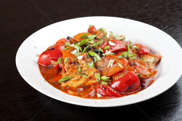 Carne de porco carne tomates pimenta alho Foto stock © olira