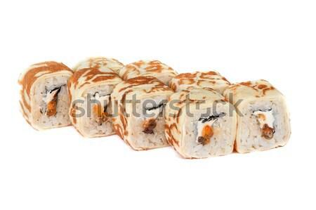 Panqueca sushi vermelho caviar isolado Foto stock © olira