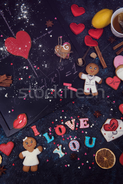 Math, hearts, formula of love Stock photo © olira