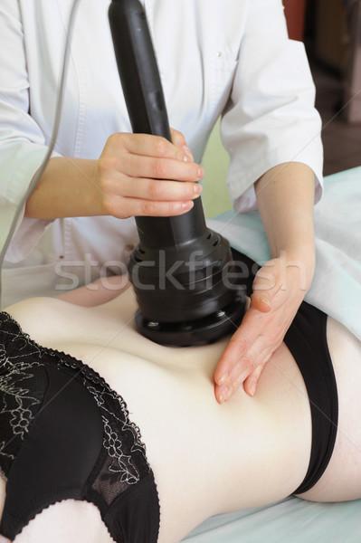 Verfahren Frauen Magen Cellulite Mädchen glücklich Stock foto © olira