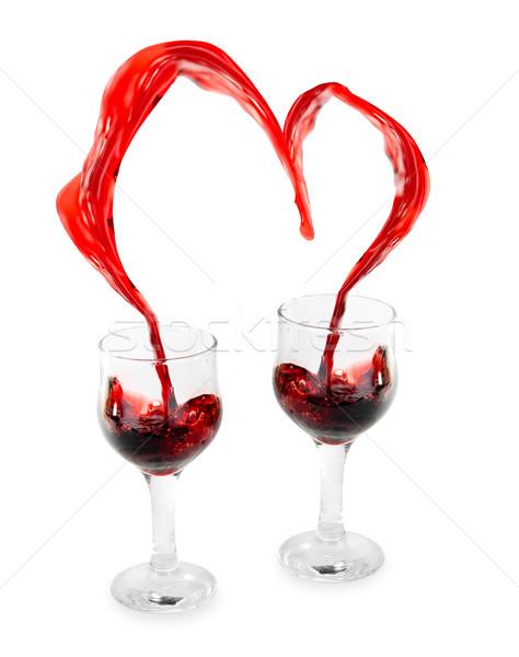 Foto stock: Vinho · coração · vinho · tinto · isolado · branco