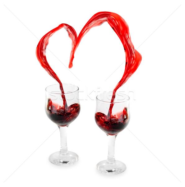 Foto stock: Vino · corazón · rojo · blanco · fondo · cena