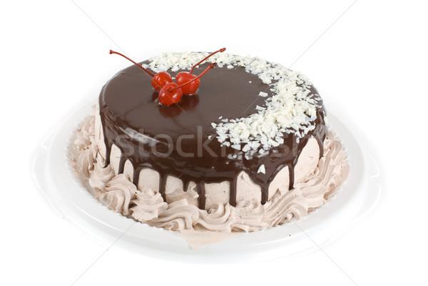ストックフォト: 桜 · ケーキ · クローズアップ · 孤立した · 白 · 食品