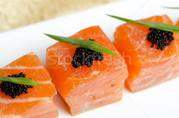 Saumon tranches noir caviar alimentaire Photo stock © olira