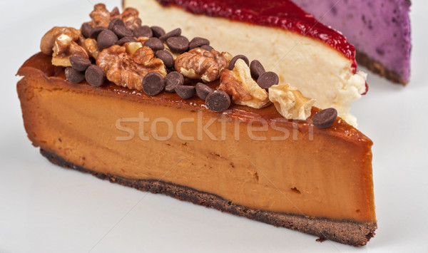 Cheesecake chocolat noix tranche alimentaire plaque Photo stock © olira