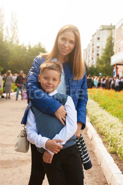 Primo tempo prima classe felice scolaro madre Foto d'archivio © olira
