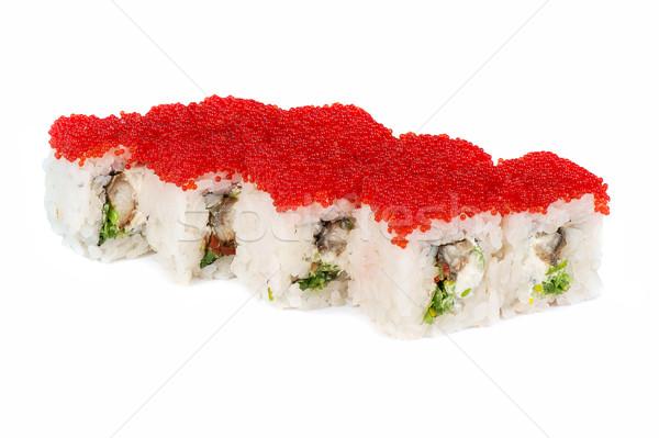 Roll with cream cheese, tobiko caviar Stock photo © olira