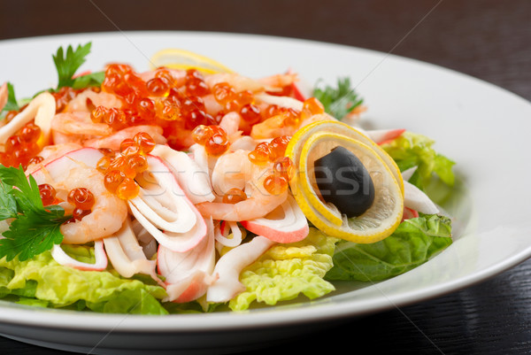 Mer salade caviar laitue citron olive Photo stock © olira