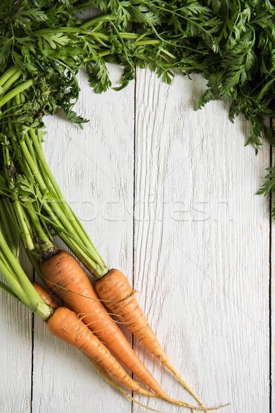 Vers gegroeid wortelen houten tafel natuur blad Stockfoto © olira
