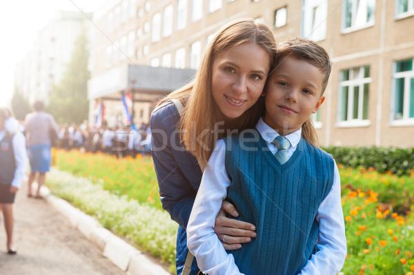 Stock fotó: Első · idő · első · osztály · boldog · iskolás · fiú · anya