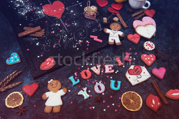 Math harten formule liefde valentijnsdag bruiloft Stockfoto © olira