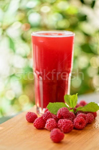 Meyve içmek ahududu parti doğa cam Stok fotoğraf © olira