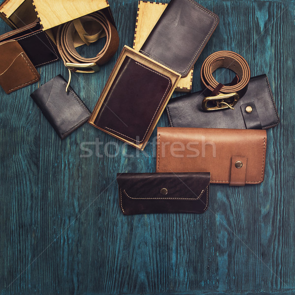 Men's accessories on a blue wooden Stock photo © olira