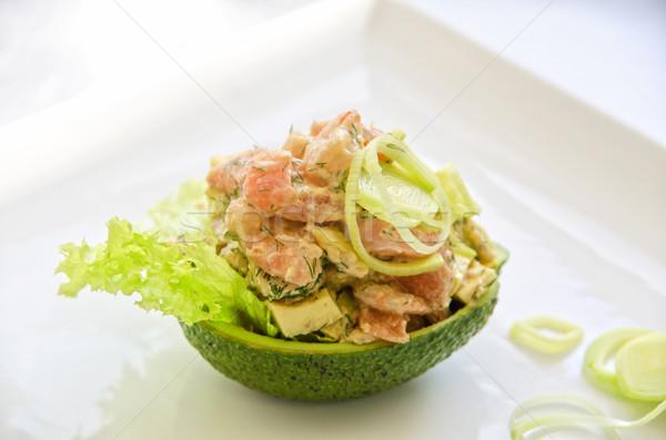 Friss saláta lazac avokádó hal levél Stock fotó © olira