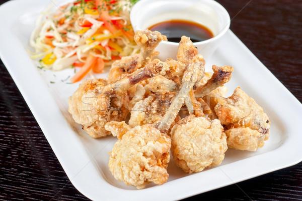 Brathähnchen Flügel frischem Gemüse Teriyaki Sauce Essen Stock foto © olira