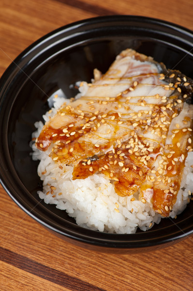 угорь риса Японский кухня черный пластина Сток-фото © olira