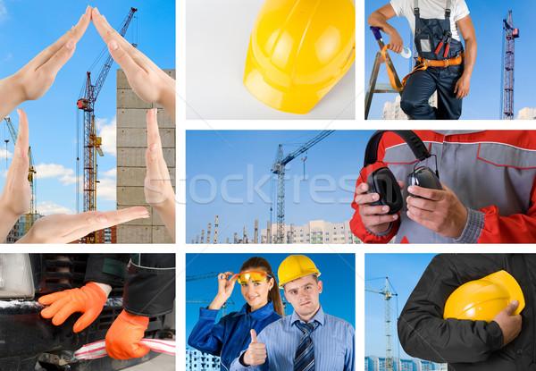 Trabajadores establecer edificio nina hombre Foto stock © olira