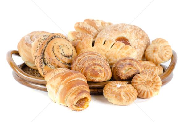 Pékség élelmiszerek szett fehér vacsora reggeli Stock fotó © olira