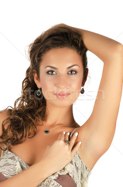 Hermosa mujeres cerca retrato modelo collar Foto stock © olira