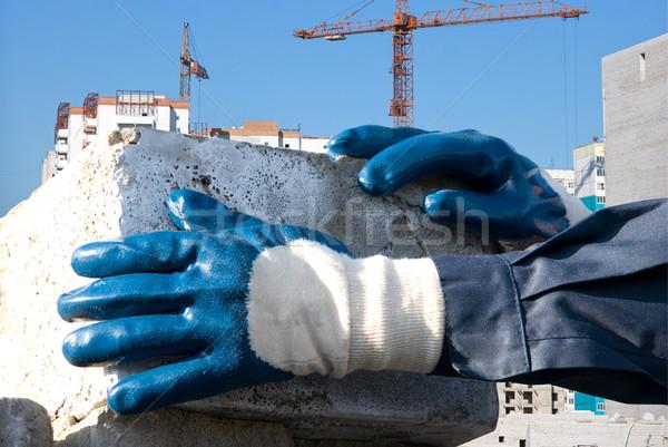 Tégla férfi kezek közelkép épület város Stock fotó © olira