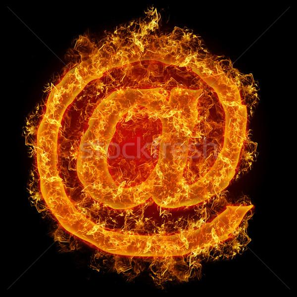 огня знак почты черный фон компьютер Сток-фото © olira