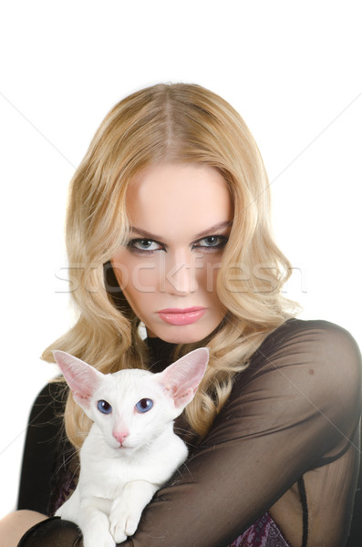 woman with oriental shorthair cat Stock photo © olira