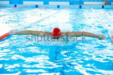 бассейна спортивный человека Бассейн здоровья синий Сток-фото © olira