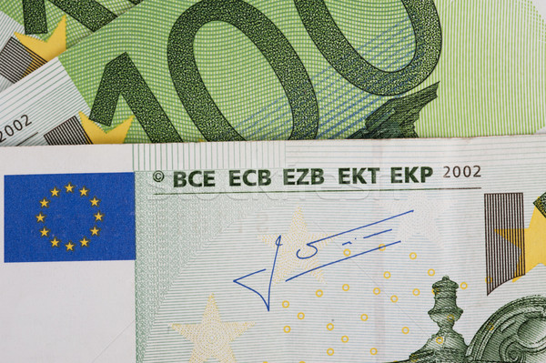 Foto stock: Euro · notas · novo · dinheiro · verde · banco