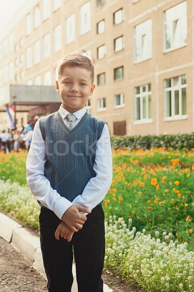 Első idő első osztály boldog iskolás fiú iskola Stock fotó © olira