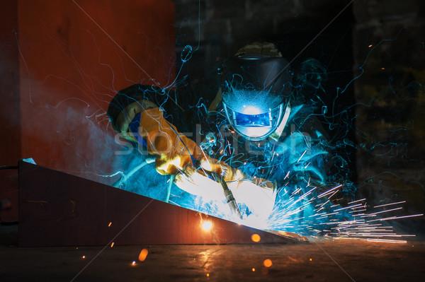 Lavoratore saldatura metal fabbrica costruzione Foto d'archivio © olira