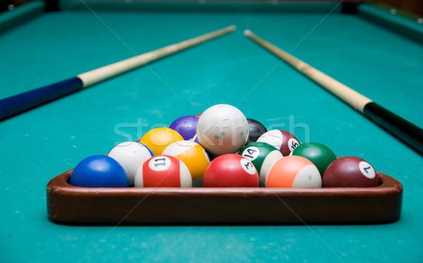 Piscina de bilhar verde tabela grupo Foto stock © olira