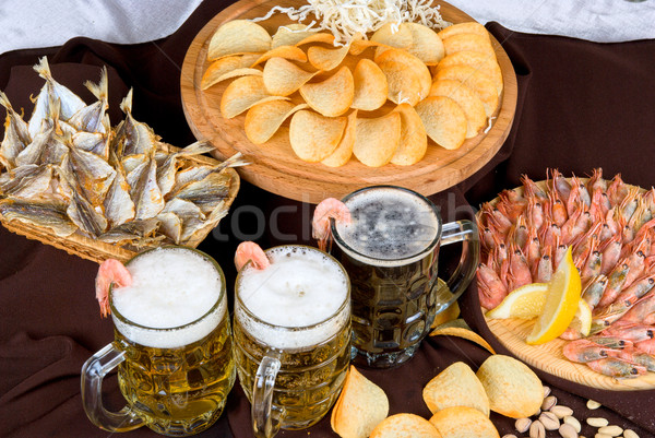 Beer and snacks set Stock photo © olira