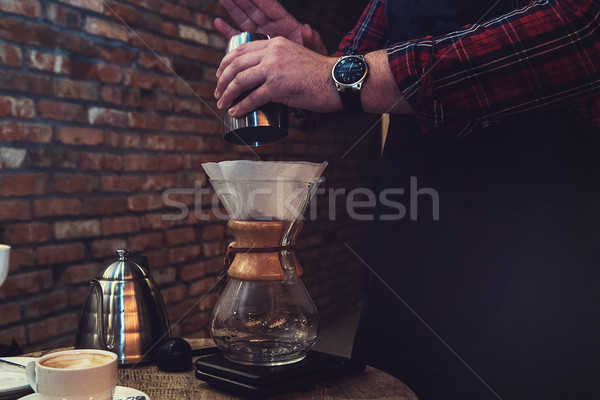 Barista brewing coffee Stock photo © olira