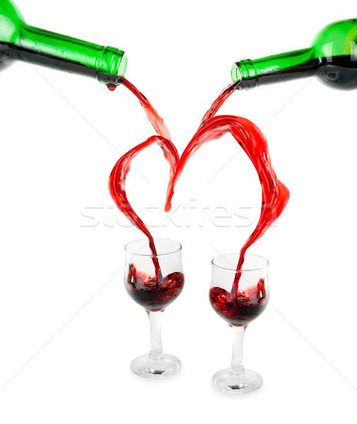 Zdjęcia stock: Serca · wino · czerwone · odizolowany · biały · strony